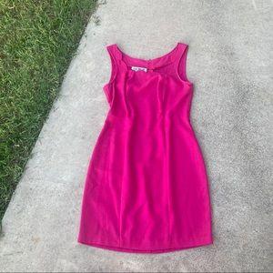 Vintage 90s 2000s Linen Hot Pink Mini Dress Sun